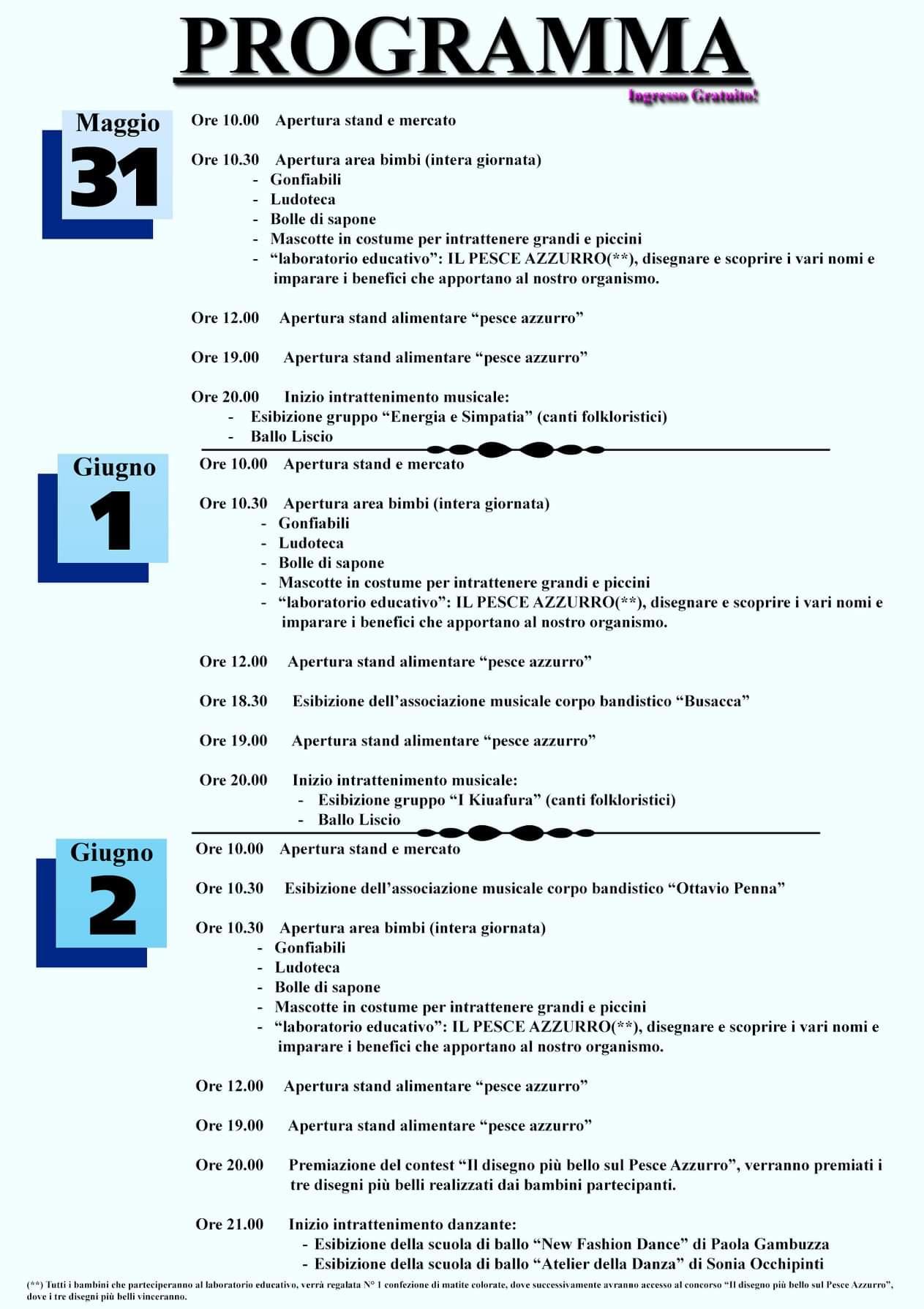 Programma 2019 sagra del pesce azzurro
